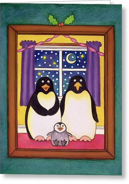 Chick Greeting Cards - Penguin Family Christmas, 1997 Pastel On Paper Greeting Card by Cathy Baxter