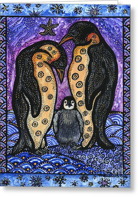 Cole Paintings Greeting Cards - Penguin Family Greeting Card by Melissa Cole