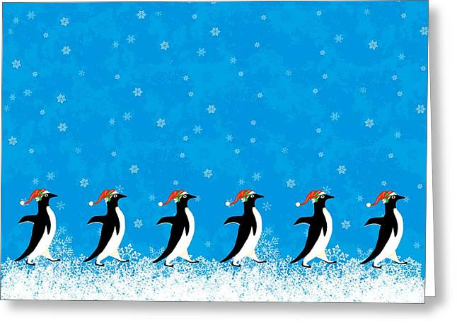 Christmas Greeting Cards - Penguin Holiday March Greeting Card by Linda Mears