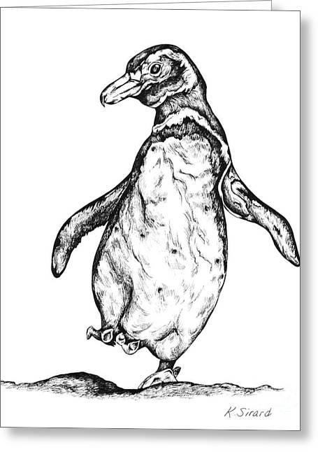 Wild Life Drawings Greeting Cards - Penguin Greeting Card by Karen Sirard