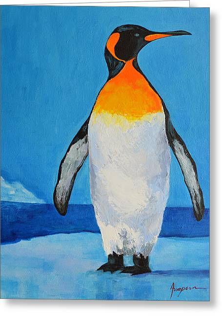 Commission Work Greeting Cards - Penguin King Carl Greeting Card by Patricia Awapara