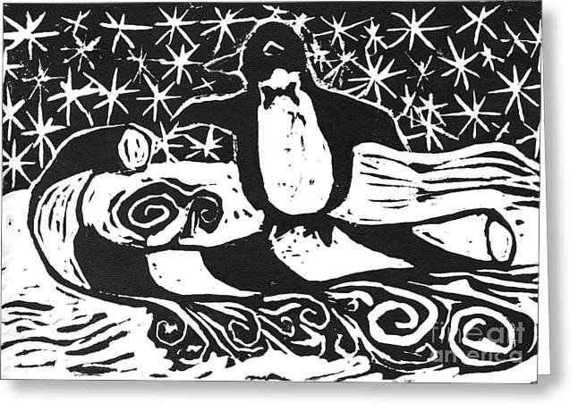 Relief Printing Greeting Cards - Penguin on Candy cane Sled  a block print  Greeting Card by Ellen Miffitt
