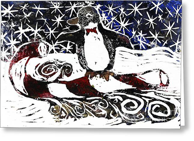 Positive Negative Design Greeting Cards - Penguin on Candy cane Sled Greeting Card by Ellen Miffitt