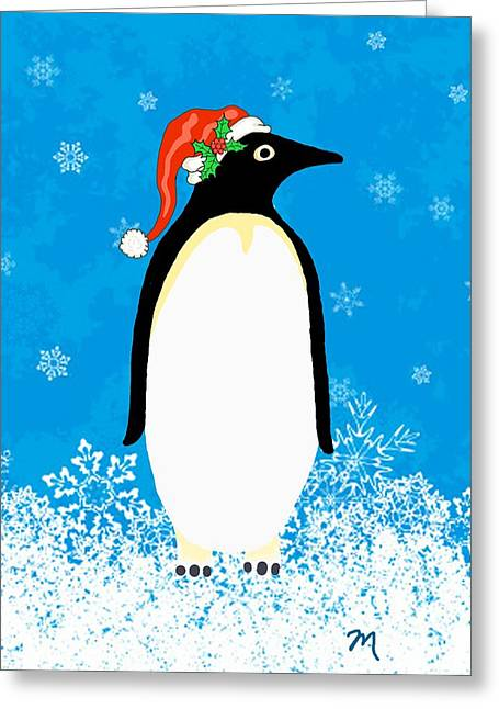 Holidays Greeting Cards - Penguin Santa One Greeting Card by Linda Mears