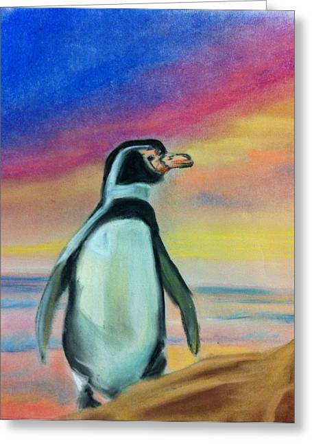 Penguins Pastels Greeting Cards - Penguin Greeting Card by Tiffany Albright