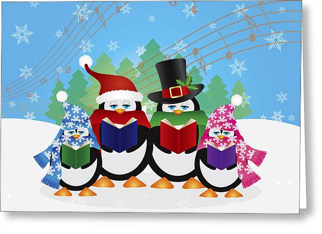 Christmas Eve Greeting Cards - Penguins Christmas Carolers Snow Scene Illustration Greeting Card by JPLDesigns