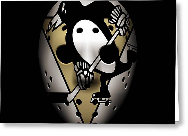 Pittsburgh Greeting Cards - Penguins Goalie Mask Greeting Card by Joe Hamilton