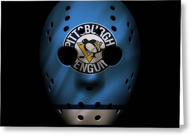 Penguins Greeting Cards - Penguins Jersey Mask Greeting Card by Joe Hamilton