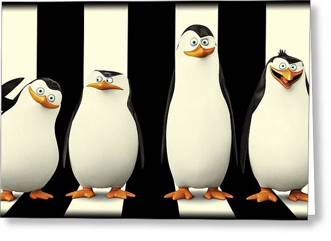 Animation Drawings Greeting Cards - Penguins of Madagascar Greeting Card by Movie Poster Prints