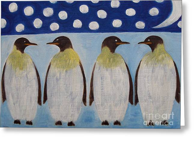 Conceptual Abstraction Greeting Cards - Penguins Greeting Card by Patrick J Murphy