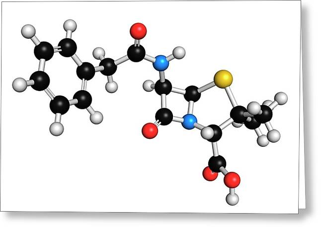 Penicillin G Antibiotic Molecule Greeting Card by Molekuul