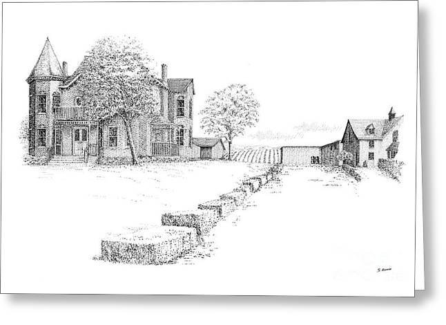 Ink Drawing Greeting Cards - Peninsula Ridge Winery Greeting Card by Steve Knapp