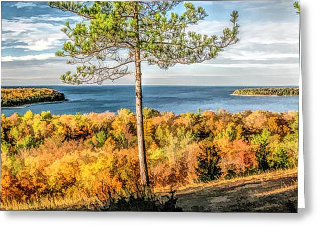 Peninsula State Park Greeting Cards - Peninsula State Park Scenic Overlook Panorama Greeting Card by Christopher Arndt