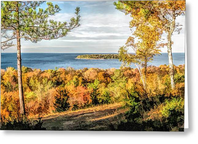 Wisconsin State Parks Greeting Cards - Peninsula State Park Scenic Overlook Panorama Greeting Card by Christopher Arndt