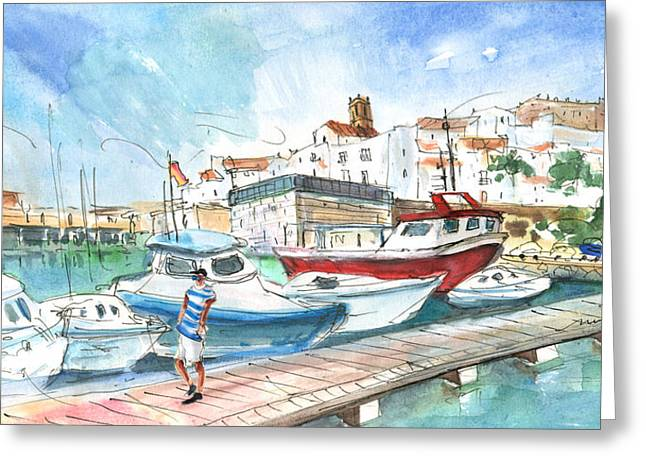 Peniscola Harbour 01 Greeting Card by Miki De Goodaboom