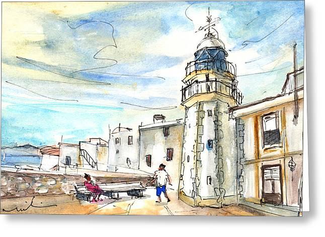 Peniscola Light Tower 01 Greeting Card by Miki De Goodaboom