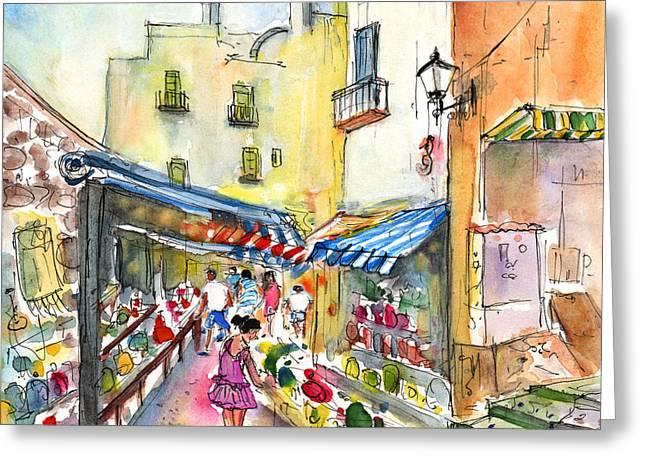 Peniscola Shops Greeting Card by Miki De Goodaboom