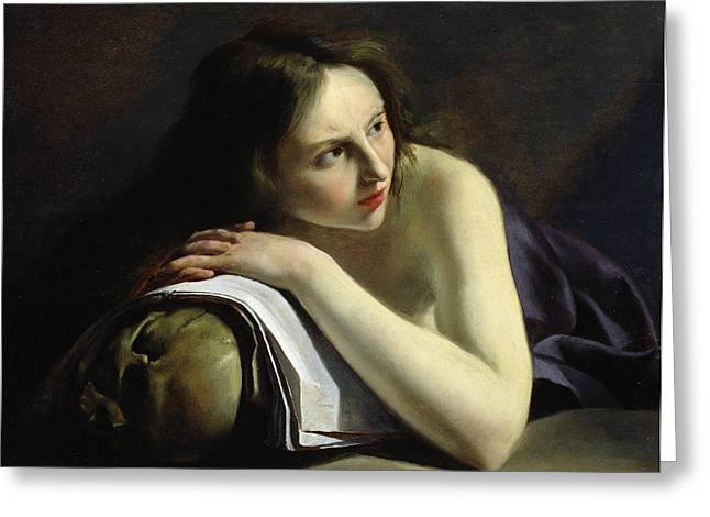 Penitent Magdalen Oil On Canvas Greeting Card by Paulus Moreelse