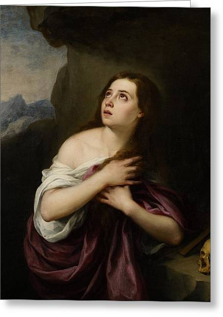 Repent Greeting Cards - Penitent Magdelene Greeting Card by Bartolome Esteban Murillo