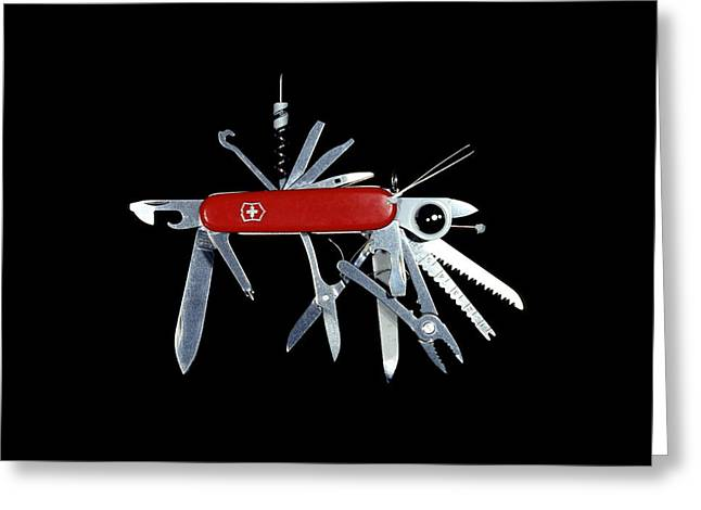 Swiss Photographs Greeting Cards - Penknife Greeting Card by Science Photo Library