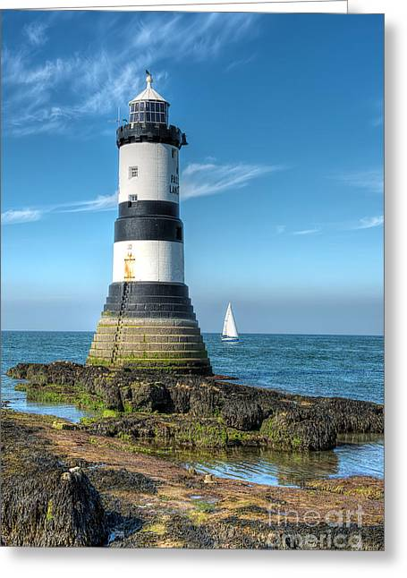 Anglesey Greeting Cards - Penmon Point Sailing Greeting Card by Adrian Evans