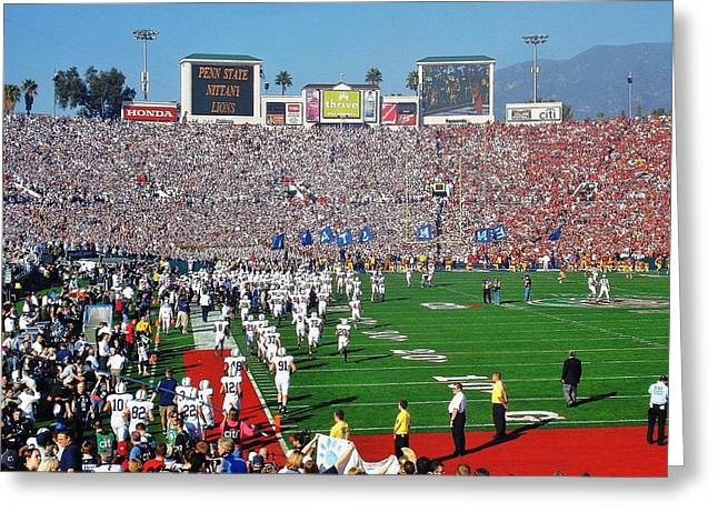 Nittany Lion Greeting Cards - Penn State Rose Bowl Greeting Card by Benjamin Yeager