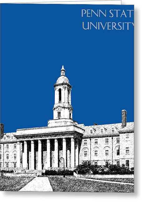 Penn Digital Art Greeting Cards - Penn State University - Royal Blue Greeting Card by DB Artist