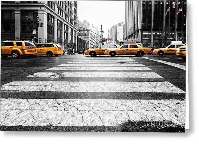 7th Greeting Cards - Penn Station Yellow Taxi Greeting Card by John Farnan