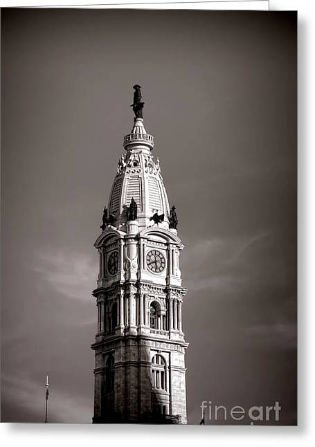 City Hall Greeting Cards - Penn Watching Greeting Card by Olivier Le Queinec