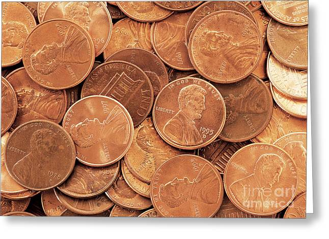 Coins Greeting Cards - Pennies Greeting Card by David Davis