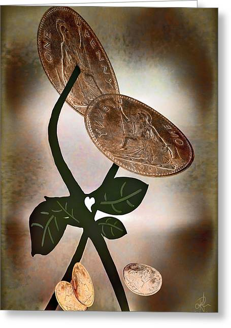 Coins Greeting Cards - Pennies From Heaven Greeting Card by Pennie  McCracken