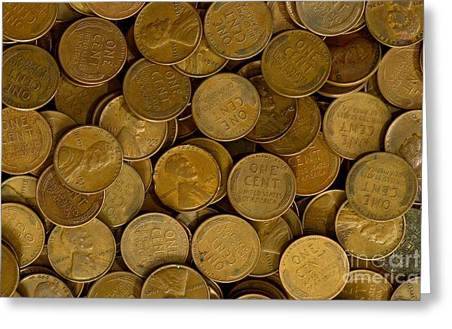 Penny Greeting Cards - Pennies Greeting Card by Paul W Faust -  Impressions of Light