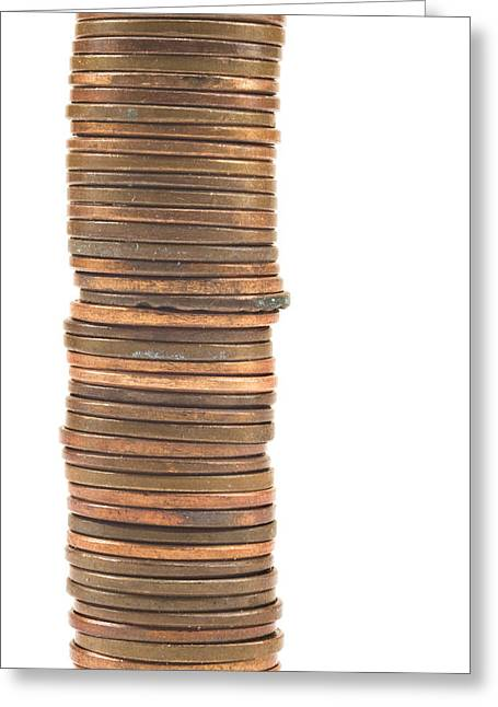 Pennies Stacked On White Background Greeting Card by Keith Webber Jr