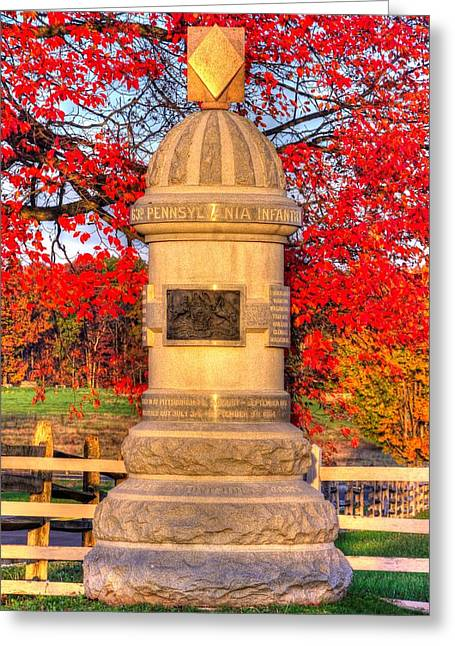 Division Greeting Cards - Pennsylvania at Gettysburg - 63rd PA Volunteer Infantry - Sunrise Autumn Steinwehr Avenue Greeting Card by Michael Mazaika