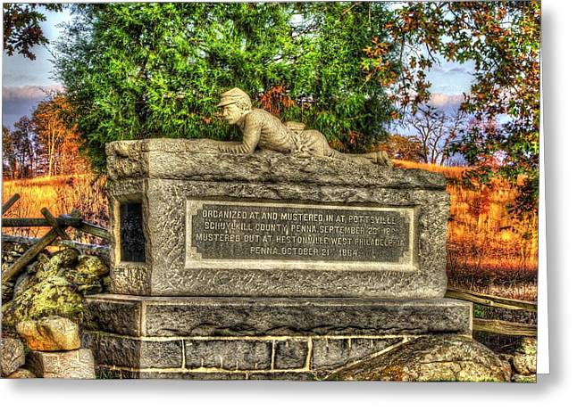 2nd Brigade Greeting Cards - Pennsylvania at Gettysburg - 96th PA Volunteer Infantry Late Afternoon Autumn - Full View Greeting Card by Michael Mazaika