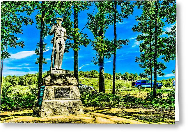 Confederate Monument Greeting Cards - Pennsylvania Bucktails at Gettysburg Battleground Greeting Card by  Bob and Nadine Johnston