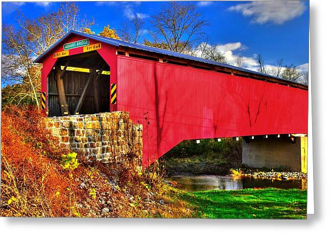 Tuscarora Greeting Cards - Pennsylvania Country Roads - Adairs Covered Bridge Over Sherman Creek - Perry County Greeting Card by Michael Mazaika