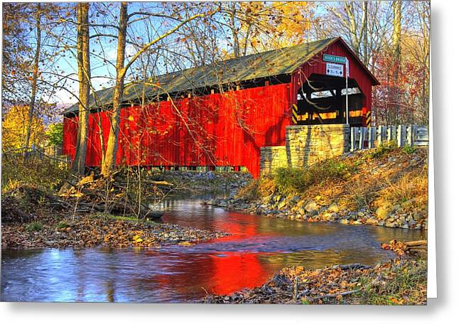 Covered Bridge Greeting Cards - Pennsylvania Country Roads - Books Covered Bridge Over Sherman Creek - Perry County Autumn Greeting Card by Michael Mazaika