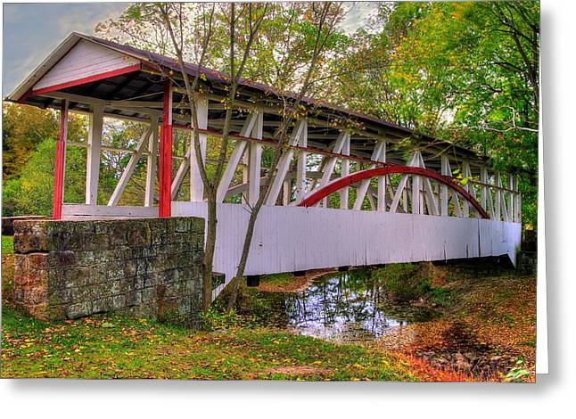 Quaker Photographs Greeting Cards - Pennsylvania Country Roads - Dr. Knisley Covered Bridge Over Dunning Creek - Autumn Bedford County Greeting Card by Michael Mazaika