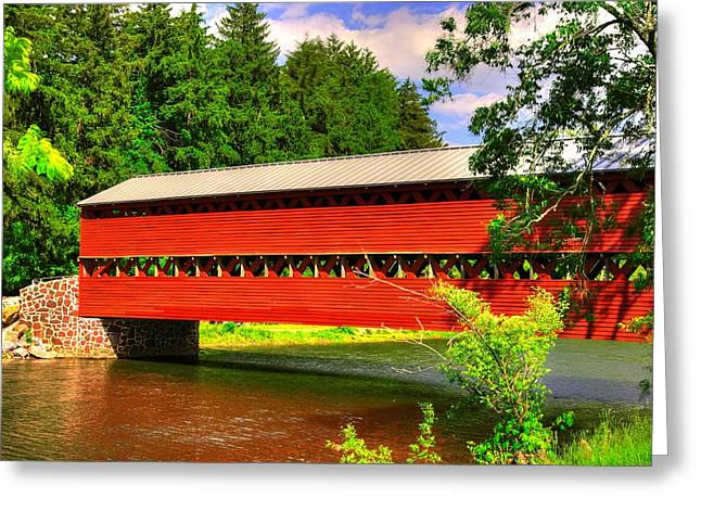 Civil Greeting Cards - Pennsylvania Country Roads - Sachs Covered Bridge Over Marsh Creek-1 - Adams County Spring Greeting Card by Michael Mazaika