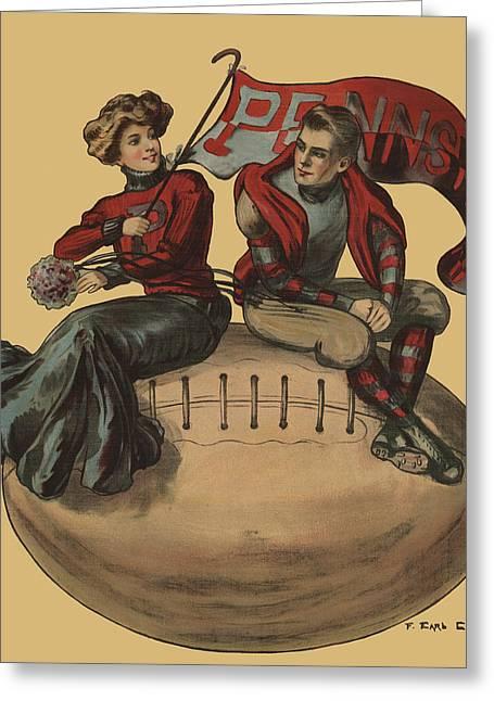 Cheerleader Greeting Cards - Pennsylvania Football Greeting Card by F Earl Christy