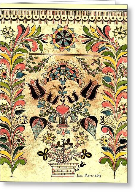 Recently Sold -  - Illuminate Greeting Cards - Pennsylvania German Fraktur Greeting Card by Joan Shaver