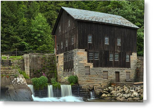 Mcconnells Mill Greeting Cards - Pennsylvania Grist Mill Waterfalls Greeting Card by Adam Jewell