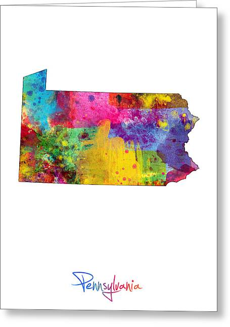 Cartography Digital Greeting Cards - Pennsylvania Map Greeting Card by Michael Tompsett