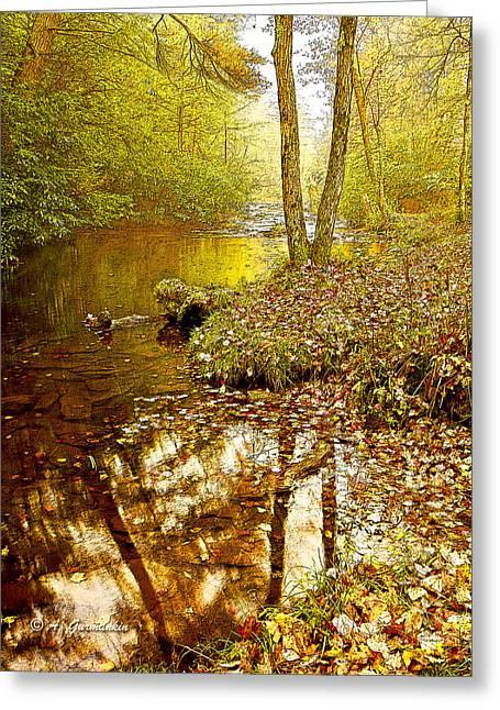 Mud Season Greeting Cards - Pennsylvania Mountain Stream in Autumn Greeting Card by A Gurmankin