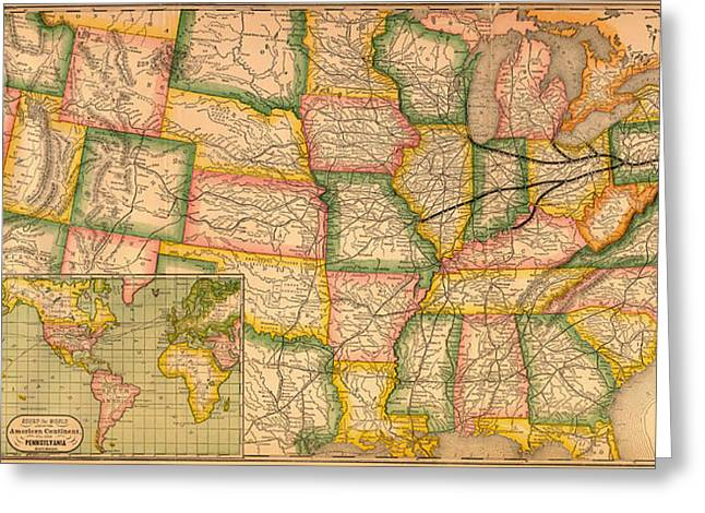 Illustrative Greeting Cards - Pennsylvania Railroad Map 1879 Greeting Card by Mountain Dreams