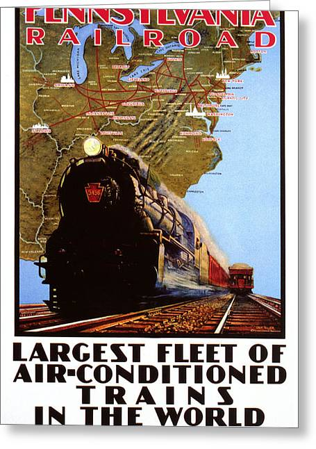 Conditions Greeting Cards - Pennsylvania Railroad Greeting Card by Nomad Art And  Design
