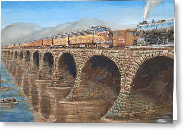 Train Bridges Greeting Cards - Pennsylvania Railroad on the Rockville Bridge Greeting Card by Christopher Jenkins