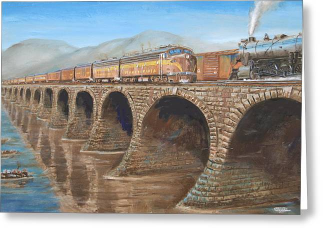 Pennsylvania Railroad On The Rockville Bridge Greeting Card by Christopher Jenkins