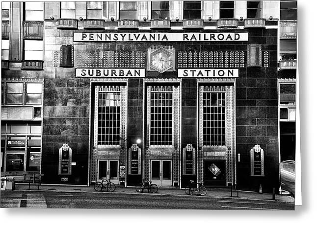 Pennsylvania Railroad Suburban Station In Black And White Greeting Card by Bill Cannon